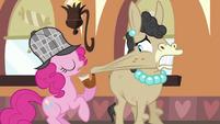 Pinkie Pie stretching Mulia's cheek S2E24