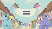 Creepy smiling ponies with equals sign banner S5E1.png