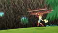 Applejack carrying a picnic table toward the wall EG4.png