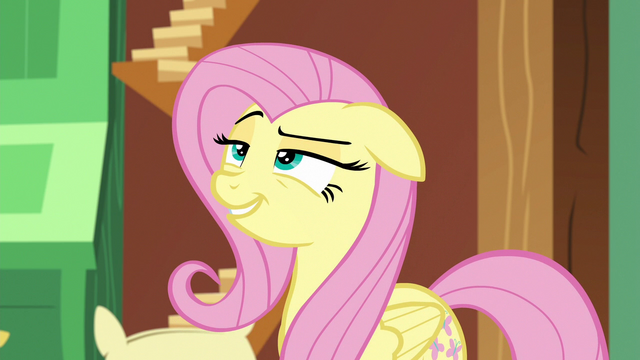 File:Fluttershy looking slyly at Discord S6E17.png