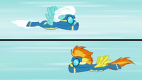 Fleetfoot and Spitfire fly toward each other S6E7