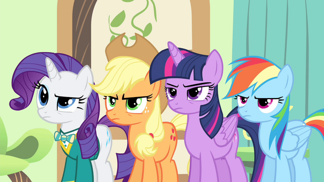 File:Rarity, Applejack, Twilight and Rainbow looking angry S4E14.png