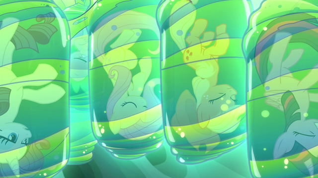 File:Rarity, Fluttershy, AJ, and Twilight trapped in cocoons S6E26.png