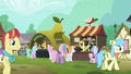 Apple and pear stands in past Ponyville S7E13.png