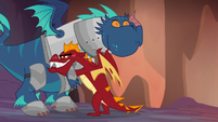 Garble hugging a blue dragon S6E5