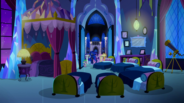 File:Mane Six, Luna, and Spike enter Twilight's bedroom S5E13.png