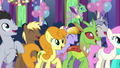 Ponies and changelings cheering for Starlight S7E1.png