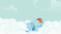 Rainbow Dash swimming on a cloud S2E08