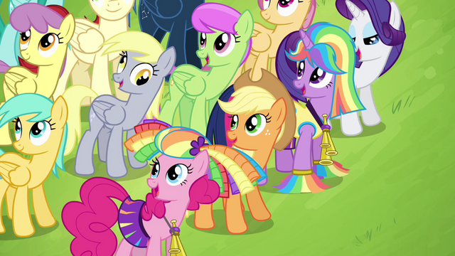 File:Mane 4 watching Rainbow Dash fly S4E10.png