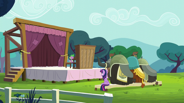 """File:Twilight and the yaks watch Spike's """"performance"""" S5E11.png"""