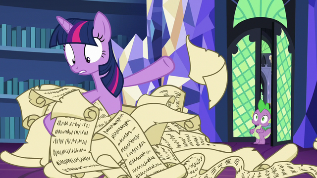 File:Twilight sifts through dozens of lesson scrolls S7E1.png