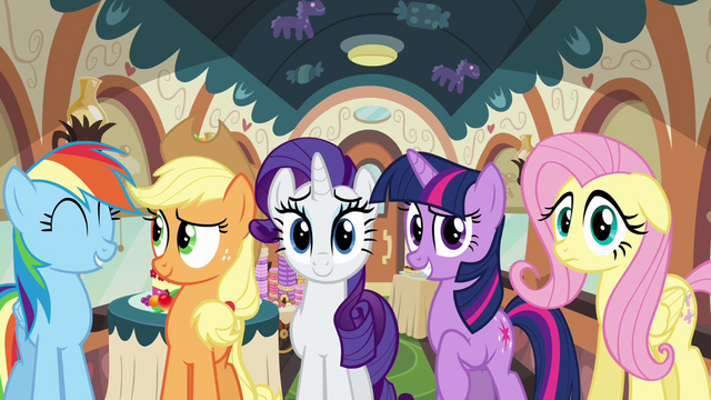 File:Rainbow, Applejack, Rarity, Twilight and Fluttershy S2E24.png