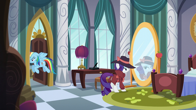 File:Rarity looks at mirror while Rainbow leaves room S5E15.png