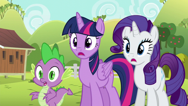 File:Twilight, Rarity, and Spike watching Applejack S6E10.png