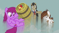 Berryshine, Filthy Rich, and Pipsqueak flying upward S5E9.png