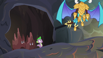 Ember flying away from Spike S6E5