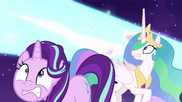 File:Nightmare Moon's blast flies over Starlight and Celestia S7E10.png