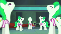 Spike walking by unnoticed by the henchponies S4E06