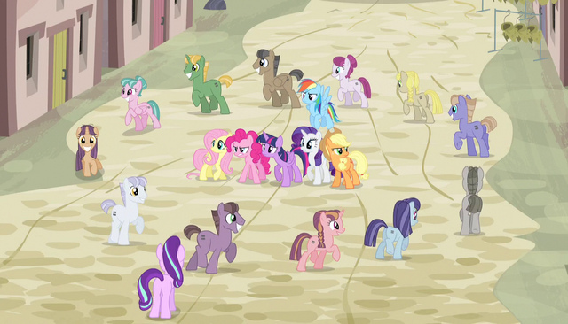 File:Villagers march in a circle around Mane Six S5E1.png