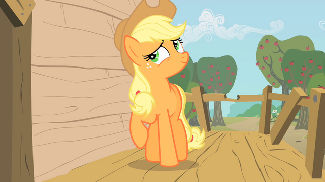 File:Applejack about to place a hoof on the wall of the club house S1E18.png