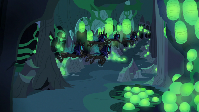 File:Changelings fly past Discord's hiding spot S6E26.png