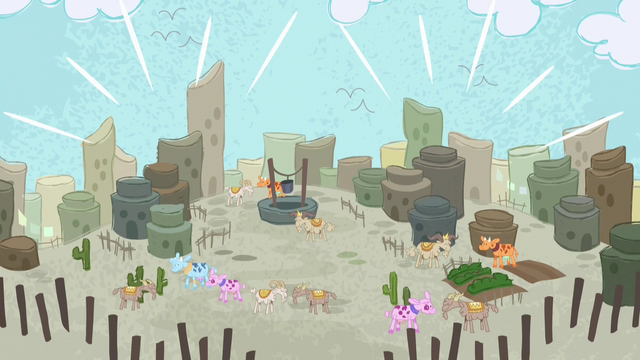 File:Desert village restored in Pinkie Pie's story S7E11.png