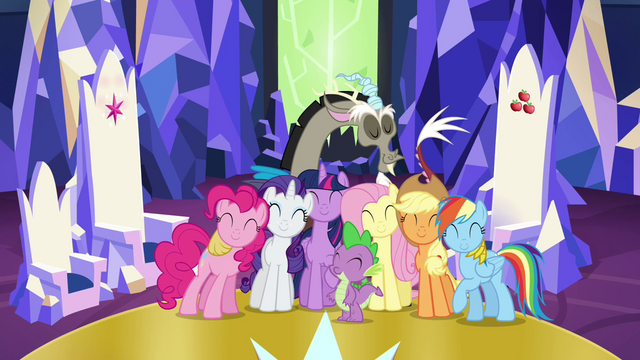 File:Main cast and Discord group hug S4E26.png