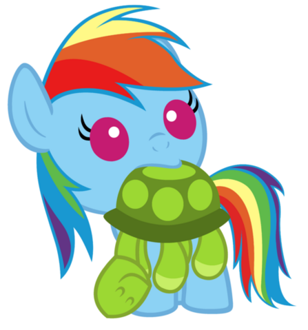 File:FANMADE baby Rainbow Dash and turtle plush.png