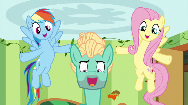 File:Fluttershy and Rainbow support Zephyr through song S6E11.png