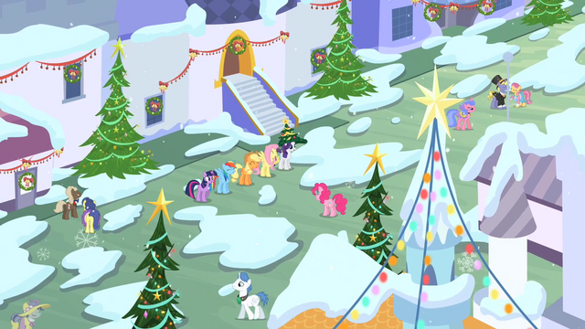 File:Mane 6 laughing in snowy Canterlot S2E11.png