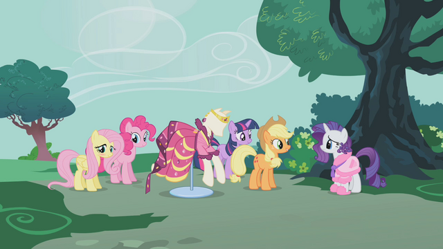 File:Rarity's friends showing Rarity her dress S1E14.png