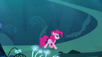 Pinkie trotting through the dream Mirror Pool S5E13