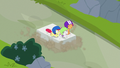 Cutie Mark Crusaders sledding on a rock slab S7E6.png