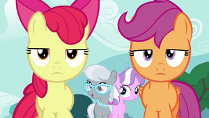 Diamond Tiara and Silver Spoon walking behind Apple Bloom and Scootaloo S4E15