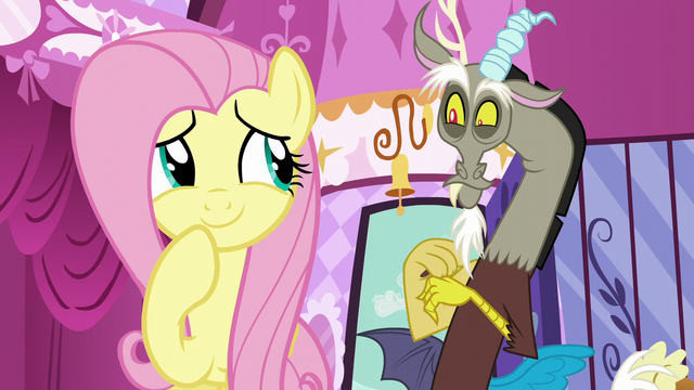 File:Fluttershy giggles; Discord smiles S5E22.png