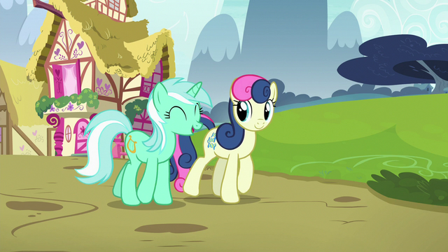 File:Lyra and Sweetie Drops walking together S7E4.png