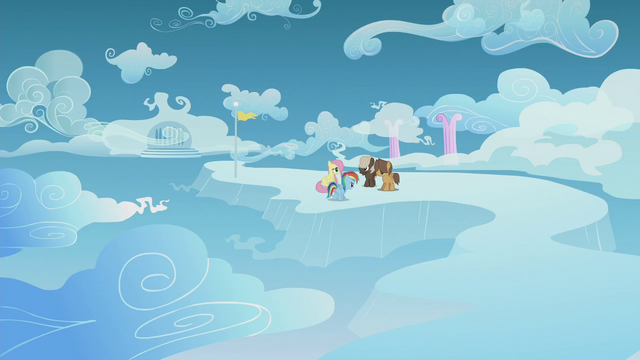 File:Rainbow, Fluttershy, and Boy Bullies on a faraway cloud S5E25.png