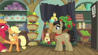 Applejack pushing Big Mac out of Rich's store S6E23