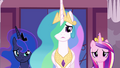 Celestia, Luna and Cadance looking at Twilight S4E26.png