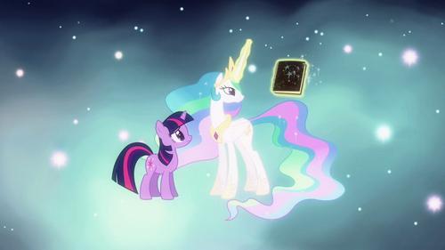 Princess Celestia brings forth book S3E13