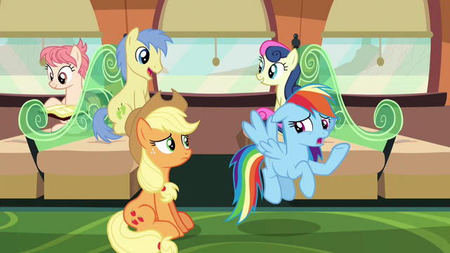 """File:Rainbow """"none of that sounds like Pinkie or Fluttershy"""" S6E18.png"""