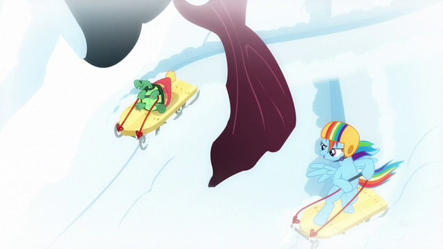 File:Rainbow and Tank sledding around the tree S5E5.png