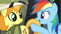 Rainbow talking to Daring Do collector S4E22