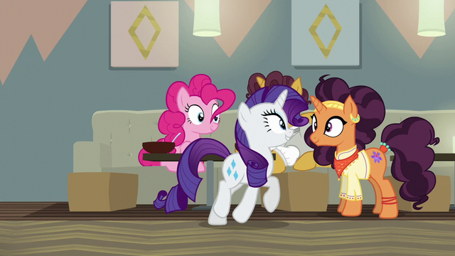 File:Rarity crosses in front of Coriander and Saffron S6E12.png