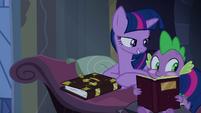 Twilight pokes blushing Spike S4E03