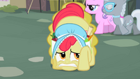 Apple Bloom hiding behind beehive S2E12