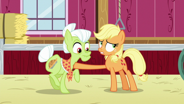 File:Applejack stops Granny Smith from leaving the barn S6E23.png