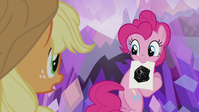 File:Pinkie Pie with a picture of obsidian S5E20.png