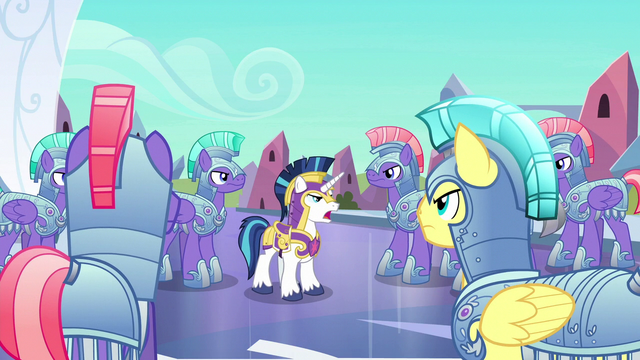File:Shining Armor gives orders to royal guards S6E16.png