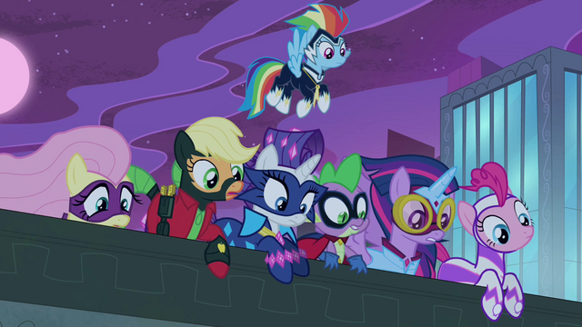 File:Spike and Power Ponies looking over ledge S4E06.png